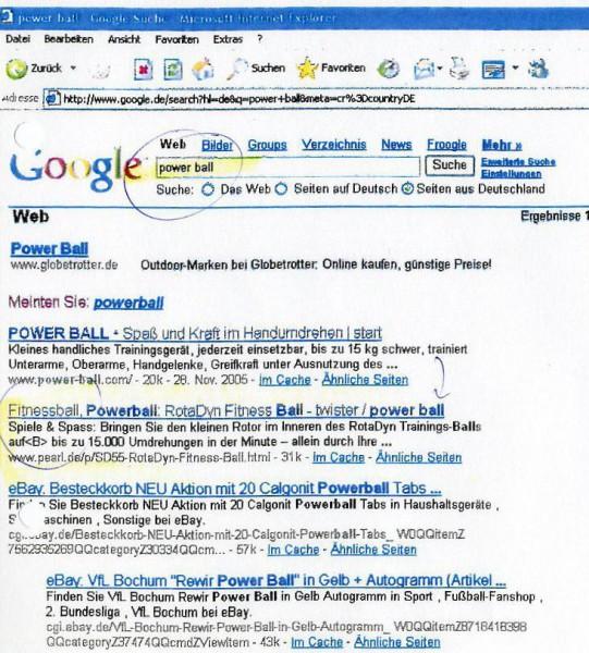 Screenshot PowerBall Google Suche