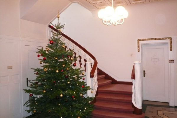Treppe mit Weihnachtsbaum